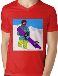 Snowboarder man with snowboard in mountain Mens V-Neck T-Shirt