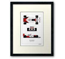 McLaren MP4/6A - Ayrton Senna 3 angles Art print Framed Print