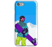 Snowboarder man with snowboard in mountain iPhone Case/Skin