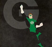 Green Lantern - Superhero Minimalist Alphabet Print Art by justicedefender