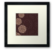 Autumn design with abstract geometric mandala ornament Framed Print