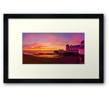 Dramatic Sky and Penarth Pier before Sunrise Panorama Framed Print