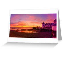 Dramatic Sky and Penarth Pier before Sunrise Panorama Greeting Card