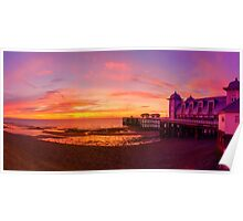 Dramatic Sky and Penarth Pier before Sunrise Panorama Poster