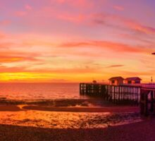 Dramatic Sky and Penarth Pier before Sunrise Panorama Sticker