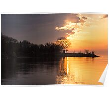 Half and Half - Slowly Moving Clouds Reveal the Sunrise Poster