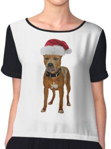 Pit Bull Santa Claus Merry Christmas Chiffon Top