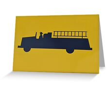 Fire engine image on yellow background Greeting Card