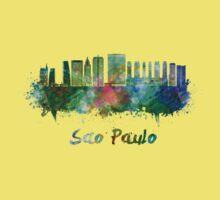 Sao Paulo V2 skyline in watercolor Kids Tee
