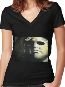 Photo of a stone face Women's Fitted V-Neck T-Shirt