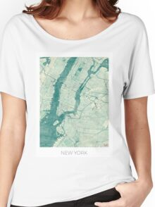 New York Map Blue Vintage Women's Relaxed Fit T-Shirt