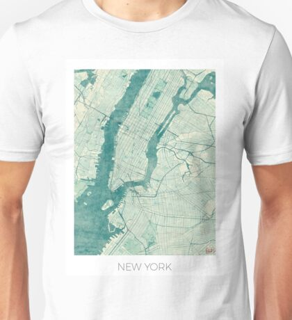 New York Map Blue Vintage Unisex T-Shirt
