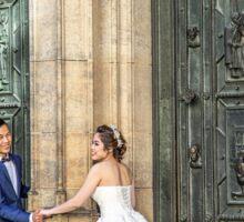 Czech Republic. Prague. Bride & Groom in front of Cathedral's Main Door. Sticker