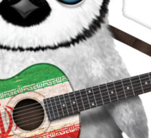 Baby Penguin Playing Iranian Flag Guitar Sticker