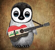 Baby Penguin Playing Iraqi Flag Guitar by Jeff Bartels