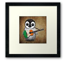 Baby Penguin Playing Irish Flag Guitar Framed Print