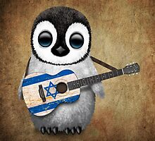 Baby Penguin Playing Israeli Flag Guitar by Jeff Bartels