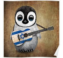 Baby Penguin Playing Israeli Flag Guitar Poster