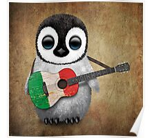Baby Penguin Playing Italian Flag Guitar Poster