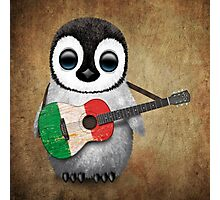 Baby Penguin Playing Italian Flag Guitar Photographic Print
