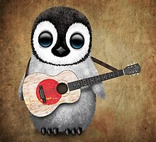 Baby Penguin Playing Japanese Flag Guitar by Jeff Bartels