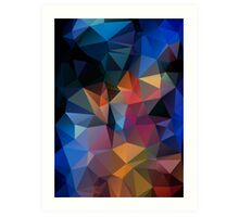 Abstract print geometrical pattern of triangles polygon. Fabric design in bright colors Art Print