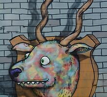 Deer Graffiti mural  by yurix