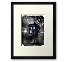 Ligthning Into Blue Bad Wolf Public Police Call Box Framed Print