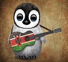 Baby Penguin Playing Kenyan Flag Guitar by Jeff Bartels