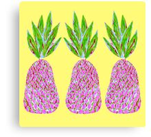 Pineapple Crush on pale yellow Canvas Print