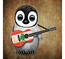 Baby Penguin Playing Lebanese Flag Guitar Photographic Print