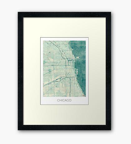 Chicago Map Blue Vintage Framed Print