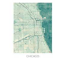 Chicago Map Blue Vintage Photographic Print