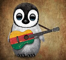 Baby Penguin Playing Lithuanian Flag Guitar by Jeff Bartels