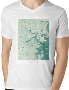 Boston Map Blue Vintage Mens V-Neck T-Shirt