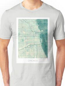 Chicago Map Blue Vintage Unisex T-Shirt