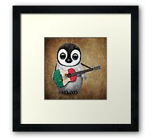 Baby Penguin Playing Mexican Flag Guitar Framed Print