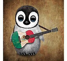 Baby Penguin Playing Mexican Flag Guitar Photographic Print