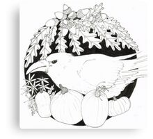 Crow with Pumpkins Canvas Print