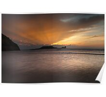 Sunset at Rhossili bay on the Gower peninsular Poster