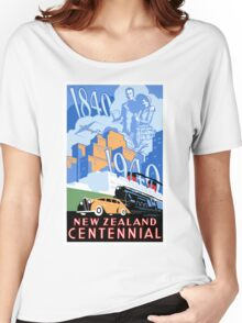 New Zealand Vintage Poster Restored Women's Relaxed Fit T-Shirt