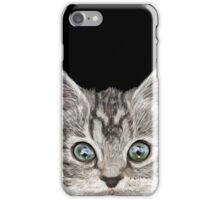 Grey cat with blue eyes iPhone Case/Skin