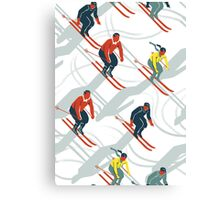 Mid Century Retro Ski Trails in Red, Teal and Yellow Canvas Print