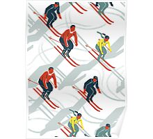 Mid Century Retro Ski Trails in Red, Teal and Yellow Poster