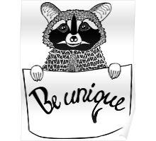 Raccoon doodle Poster