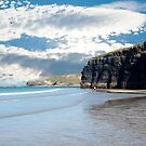 tourists at ballybunion beach and cliffs by morrbyte