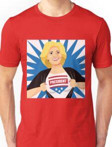 Mild mannered Hillary Clinton tearing shirt open Unisex T-Shirt