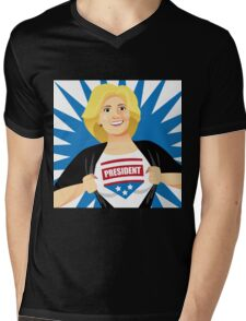 Mild mannered Hillary Clinton tearing shirt open Mens V-Neck T-Shirt