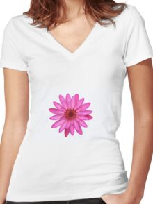 Mauve Water Lily Women's Fitted V-Neck T-Shirt