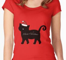 Black Meow Merry Christmas Women's Fitted Scoop T-Shirt